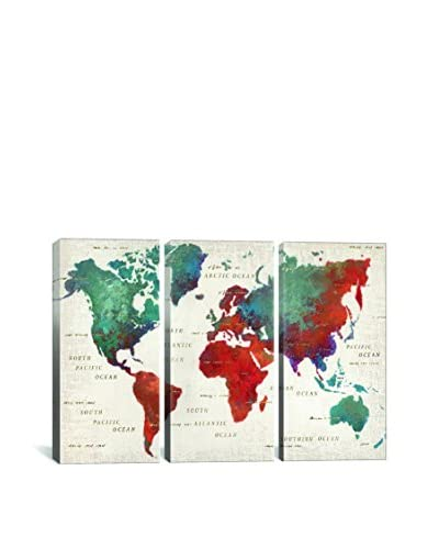 James Wiens Colorful World I Gallery Wrapped Canvas Print, Triptych