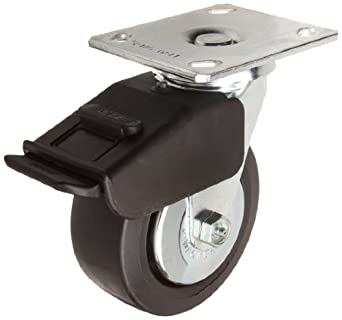 E.R. Wagner Plate Caster, Swivel with Total-Lock Brake, Thread Guard, Polyolefin Wheel