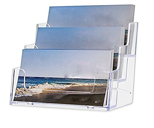 Fashionclubs Clear Acrylic Business Card Holders 3 Compartments 4