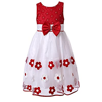 Richie House Little Girls' Sweet Dress with Embroidery and Pearls Size 3-8 Rh2140