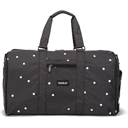 vooray-trepic-43l-weekender-duffel-bag-includes-drawstring-laundry-bag-noir-black-polka-dot