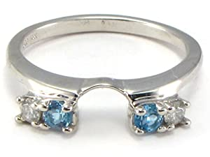 Blue Topaz Diamond Ring Wrap Guard Enhancer white gold