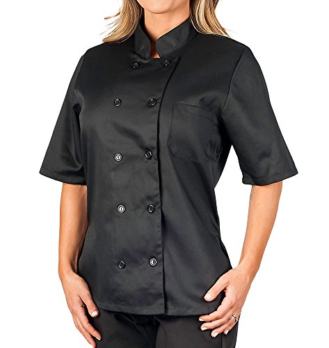 Womens Black Classic Short Sleeve Chef Coat (XL) (Womens Chef Coats With Pockets compare prices)