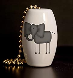 Funny Elephant Porcelain Fan / Light Pull