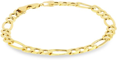 10k Yellow Gold 7.5mm Figaro Men's Bracelet,
