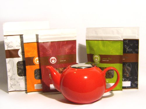 Mahamosa Teapot And Tea Gift Set - Red Ceramic Infuser Teapot (Tea Pot) And Variety Loose Leaf (Looseleaf) Tea Sampler Gift Set Kit (Incl. Five 2 Oz. Specialty Teas) (Bundle - 6 Items), Christmas Or Holiday Tea Gift