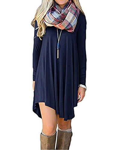 Sherosa Women's Long Sleeve Casual Loose Tunic T-Shirt Dress (S, Navy Blue)