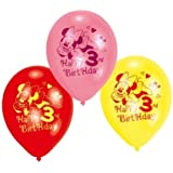 """Minnie Mouse Happy 3rd Birthday 9"""" Latex Balloons x 6"""