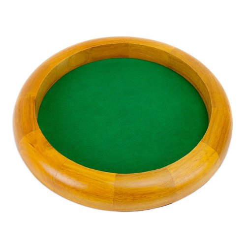 Best Buy! 12 Inch Round Wooden Dice Tray with Felt Lined Rolling Surface by Wiz Dice