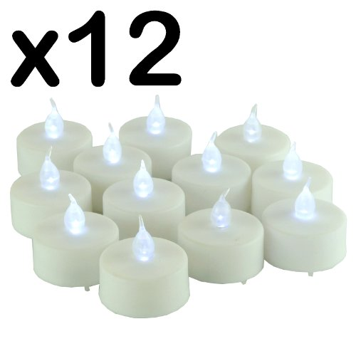 New - PACK OF 12 x LED FLICKERING TEA LIGHT CANDLES - NO HEAT - NO NAKED FLAMES - NO WAX - NO SMOKE - EASY & SAFE TO USE - AROUND CHILDREN & PET - BATTERY OPERATED TEA LIGHT / GREAT FOR HOME DECOR - PARTIES - GARDEN - OUTDOORS - FESTIVALS - BIRTHDAYS - RESTAURANTS / CAFES - Batteries Included