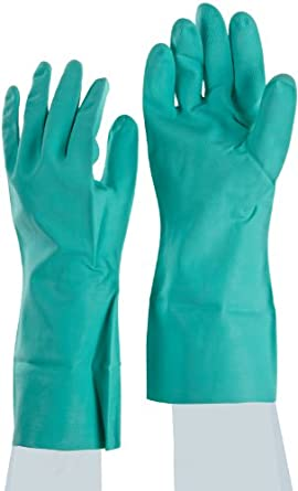 Galaxy GLX 183M 15-18-Mil Thick 13-Inch Medium Green Color Nitrile Flock-Lined Gloves (Case of 12 pairs)