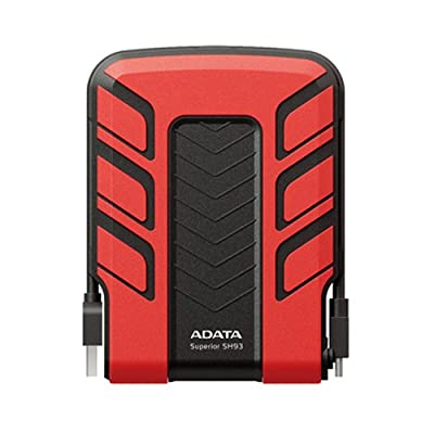 ADATA 500GB Red External USB Hard Drive SH93-500GB (Shockproof, Waterproof, Rubber Material Casing, Wrap Around USB 2.0 cable, Bright Blue LED) from Adata