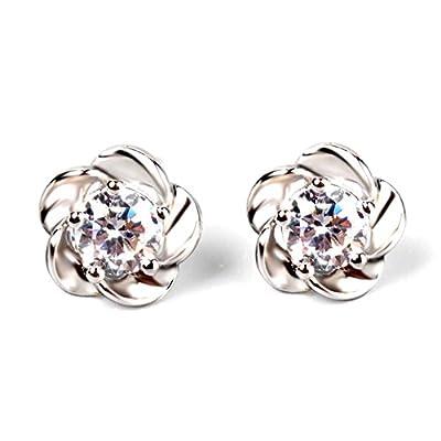 Banggood 1pair Womens Sterling Silver Platinum Plated Flowers Ear Earrings