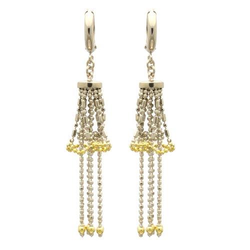 Sterling Silver Chain Earrings Detailed Skirt Drop Handmade Two Tone Silver Earrings