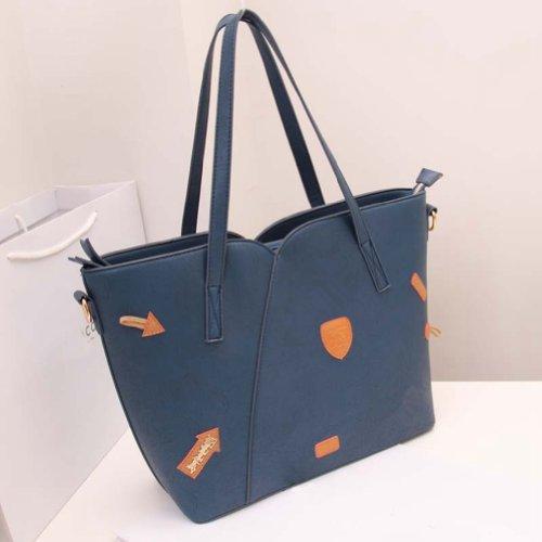 TGLOE 2014 nouvelle mode Sac à main Grand Noir Rétro épaule Portable Bag Ladies sac à main rétro Hit couleur des coutures (Bleu)