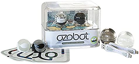 Ozobot - Smallest Programmable Robot with Accessories & Activities - Two Pack (Crystal White & Titanium Black)