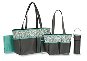 carter 39 s mini floral print 5 piece diaper bag set grey baby. Black Bedroom Furniture Sets. Home Design Ideas