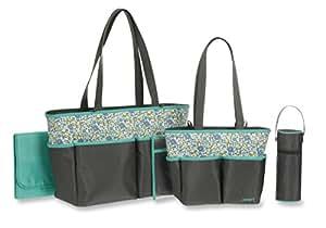 carter 39 s mini floral print 5 piece diaper bag set grey baby. Black Bedroom Furniture Sets. Home Design Ideas