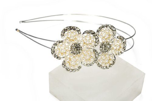 Lj Designs Diamante Tiffany And Pearl Flower Tiara (T116)