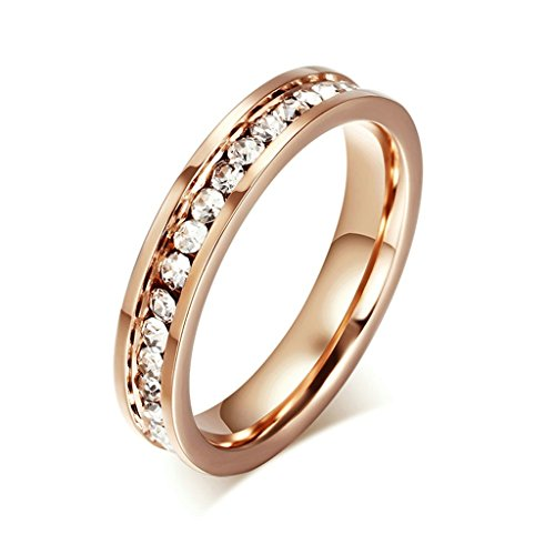Alimab Jewelery Rings Womens Stainless Steel Wedding Bands Smooth Round CZ Rose Gold Size 7