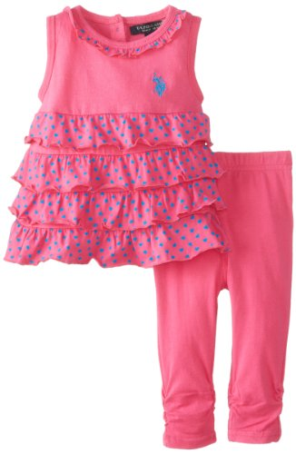 U.S. Polo Assn. Baby-Girls Newborn 2 Piece Ruffle Top With Ruched Leggings Set, Pink Kite, 3-6 Months