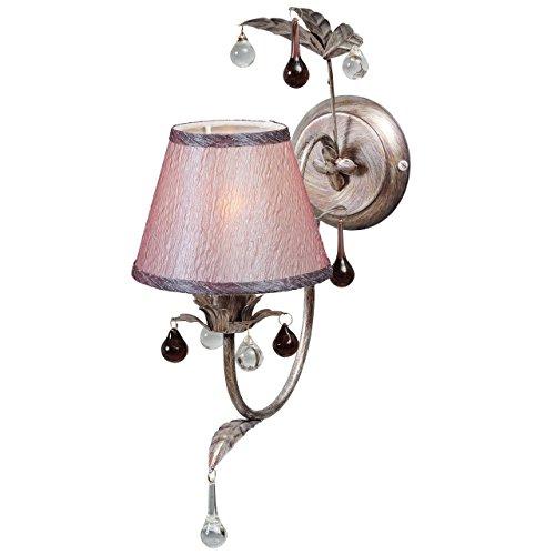 Luminaire applique métal couleur argent antique abat-jour rose en tissu textile non-incl.E14 1*40W 230V