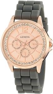 Geneva Moderate Women's AMZ1030 Rose Gold Round Rose Gold Faux Multi-Function Watch