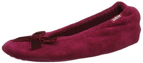isotoner-isotoner-terry-ballet-with-velvet-bow-womens-slippers-red-cherry-l-uk