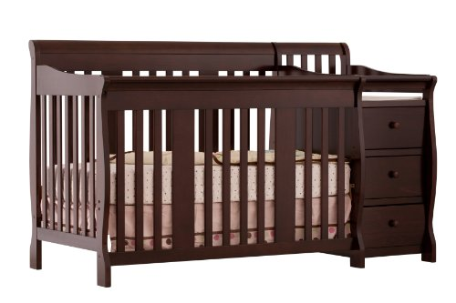 Lowest Prices! Stork Craft Portofino 4-in-1 Fixed Side Convertible Crib and Changer, Espresso