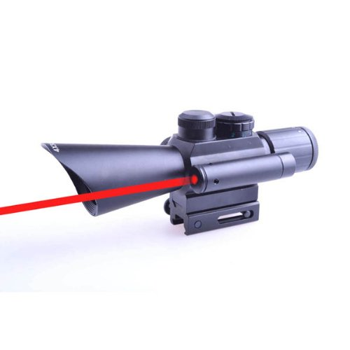 Yes Outdoor Hunting 4X30 Red/Green Dot Scope Sight/Red Laser 11mm & 20mm Weaver/Pica Rail