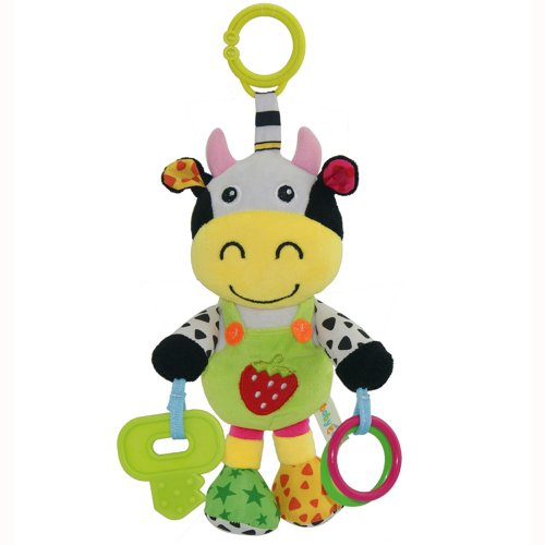 Play & Grow Cartoon Milk Cow Take Along Toy With Music And Teether