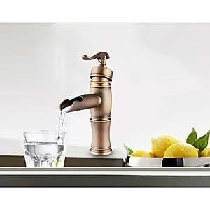 BOBO Centerset Antique Copper Finish Single Handle Brass Bathroom Sink