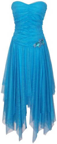 Fairy Strapless Prom Holiday Party Cocktail Dress Bridesmaid Gown, Large, Turquoise
