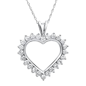 1ct tw Diamond Heart Necklace in 10K White Gold on an 18