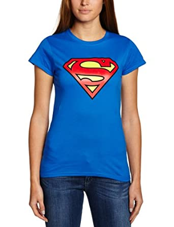 DC Women's Superman Logo Crew Neck Short Sleeve T-Shirt, Blue, Size 8 (Manufacturer Size:Small)