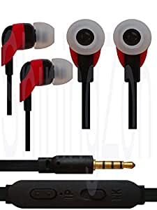 3.5mm In Ear Earbud Stereo Sound Noise Free Earphones Headphone Mini Size HandsFree Headset with Mic For Panasonic Eluga Mark - Red&Black