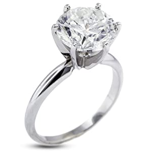 3.68 CT Excellent Cut Round H-VS2 GIA Cert Diamond Platinum Classic Solitaire Engagement Ring 5.31gr