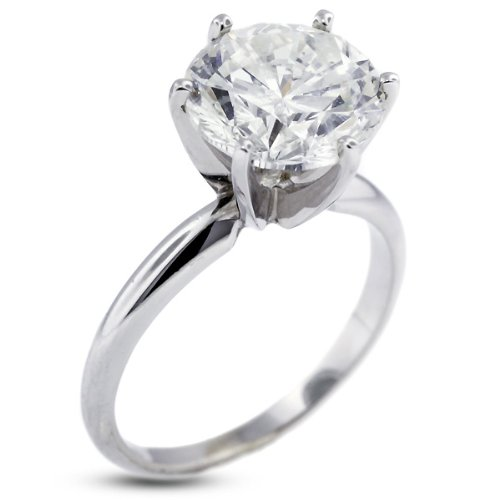4.30 Carat Ideal Cut Round F-VS2 Certified Diamond Platinum Classic Solitaire Engagement Ring 5.31gm