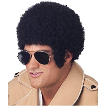 70s Style Black Tight Curl Afro Adult Costume Wig