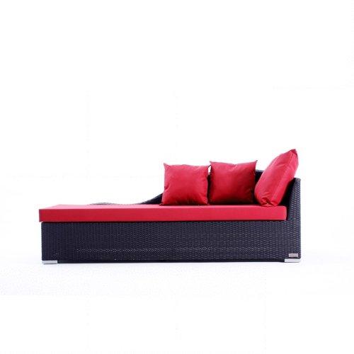 Outflexx Möbel Outdoor Chaiselongue Polyrattan w1, schwarz günstig