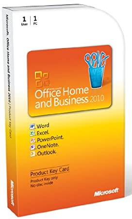Microsoft Office Home And Business 2010 (versión en inglés) PC Attach Key PKc Microcase