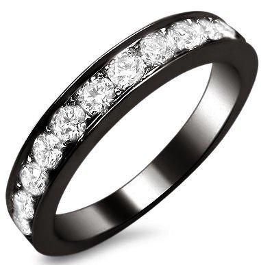 -2 F.90Ct Round Diamond Pave Wedding Band Ring 18K Black Gold Rhodium Plating Over White Gold