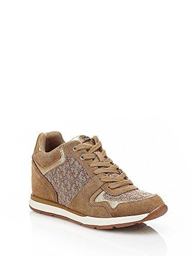 Guess Sneaker Donna Laceyy Zeppa Cm 6 Pelle Beige_36