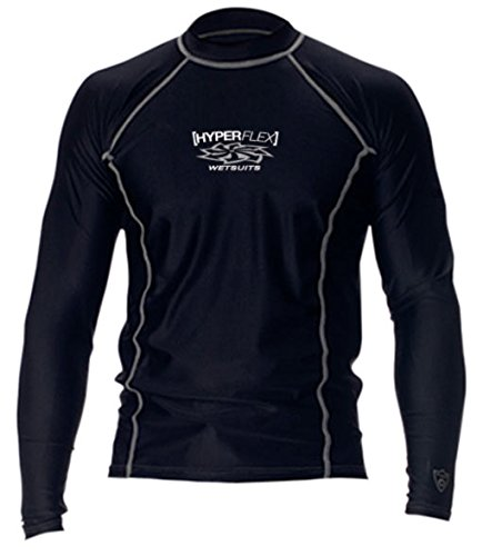 Hyperflex Adult Loose Fit Long Sleeved Rash Guard, XX-Large, Black