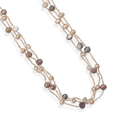 Ster. Silver 39 Inch Triple Strand Tan Champagne Color Cord Necklace Brown Champagne Cult. Fw Pearls