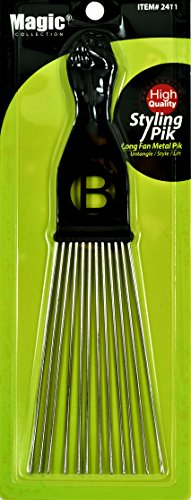 Afro Hair Pick Extra Large Long Black Fist Long Fan Metal Pik (B-2411) (Large Fan Pick compare prices)