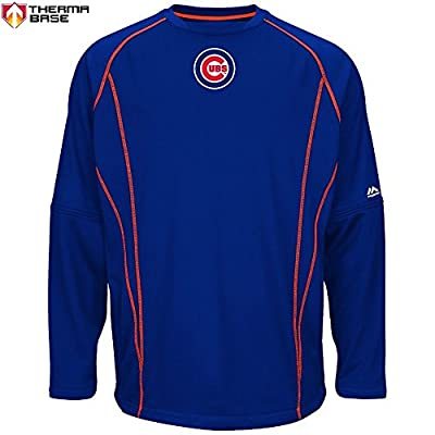 Chicago Cubs MLB Men's Therma Base On-Field Practice Pullover Fleece - Blue