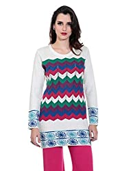 White Base Multicolor self Design Woollen Light Weight TOP