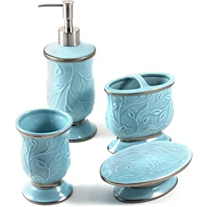 Saturday knight ltd seafoam blue ceramic 4 for Blue bath accessories set