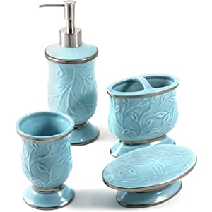 Saturday knight ltd seafoam blue ceramic 4 for Ceramic bath accessories sets